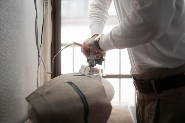 Handwerkliches bügelmaterial hautnah