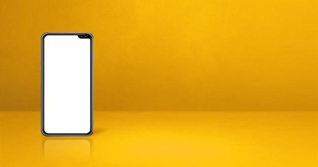 Handy auf gelbem schreibtisch. horizontales hintergrundbanner. 3d-illustration