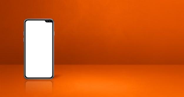 Handy auf orange schreibtisch. horizontales hintergrundbanner. 3d-illustration
