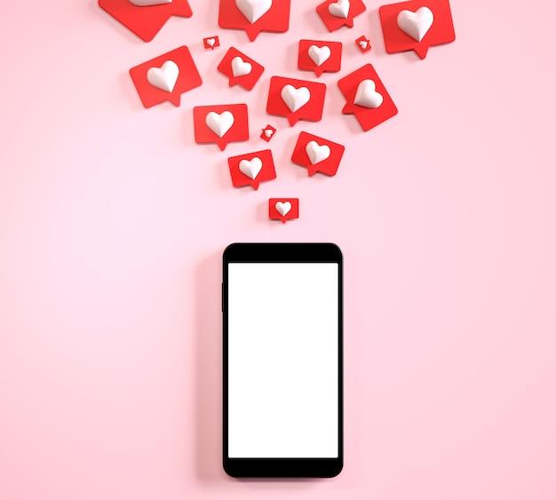 Handy leerer bildschirm mit vielen sozialen medien wie benachrichtigungen d rendern