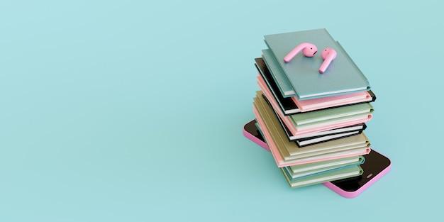 Handy mit vielen büchern und rosa kabellosen kopfhörern