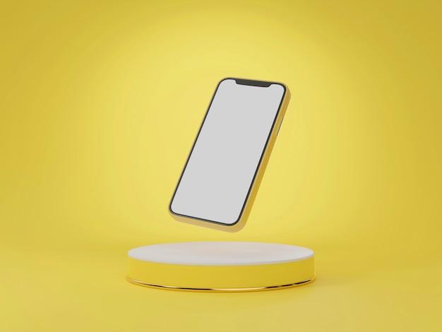 Handy schwebt auf gelbem ständer