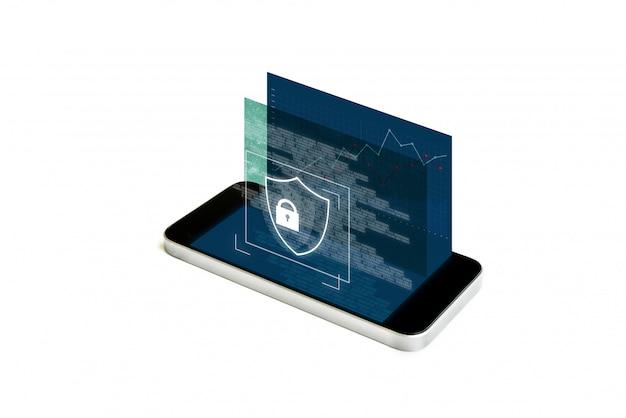 Handy-sicherheit und digitales datensicherheitssystem. mobile smartphone mit augmented-reality-sicherheitsschloss-bildschirm