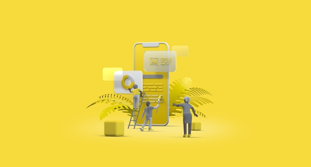 Handy smartphone web ui ux app design teamwork konzept 3d-darstellung team people building