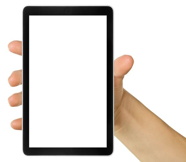 Handy-tablet in der hand für werbung. computer angerufen