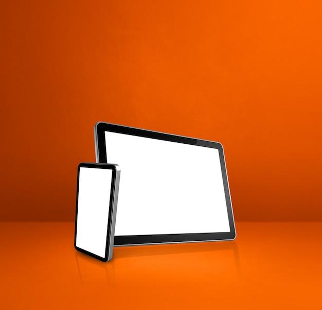 Handy und digitaler tablet-pc auf orangefarbenem schreibtisch. 3d-illustration