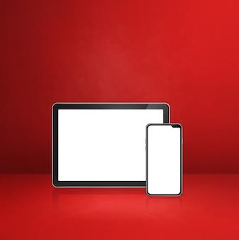 Handy und digitaler tablet-pc auf rotem schreibtisch. 3d-illustration