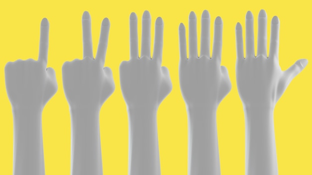 Handzeichen finger zeigen nummer
