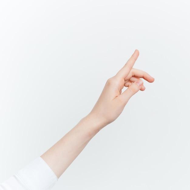 Handzeichen weißer hintergrund eine beschnittene ansicht auf einem hellen hintergrund