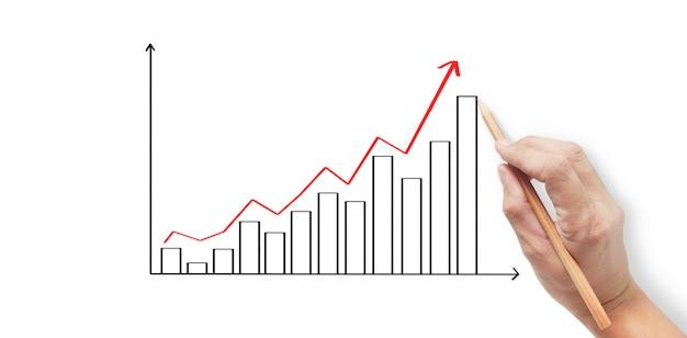Handzeichnung eines diagramms, grafikbestand des wachstums