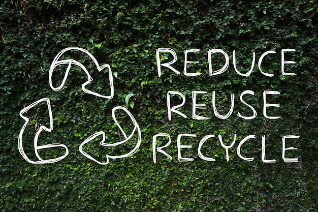 Handzeichnung reduzieren - wiederverwendung - recycling-symbol mit grünem naturhintergrund.