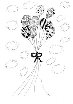 Handzeichnung von ballons mit schwarzer tinte und wolkenkarikatur herum, auf weißem papier