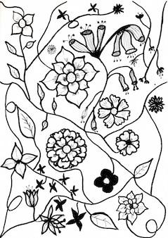 Handzeichnung von blume und blatt mit schwarzer tinte auf weißem papier
