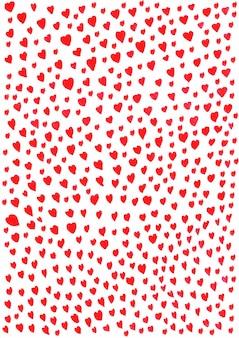 Handzeichnung von kleinen herzen mit roter tinte, viel auf weißem papier