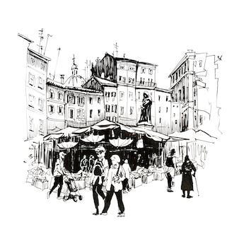 Handzeichnungsskizze, römischer platz campo de fiori mit tagesmarkt und denkmal zu giordano bruno, rom, italien. bild gemacht liner