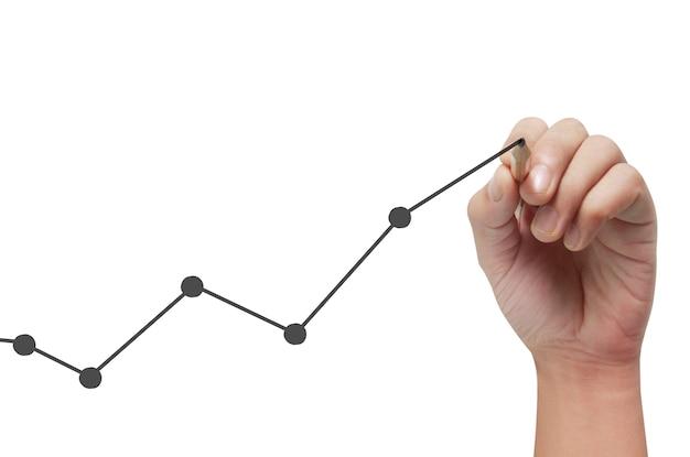 Handzeichnungstabelle, grafik des wachstums