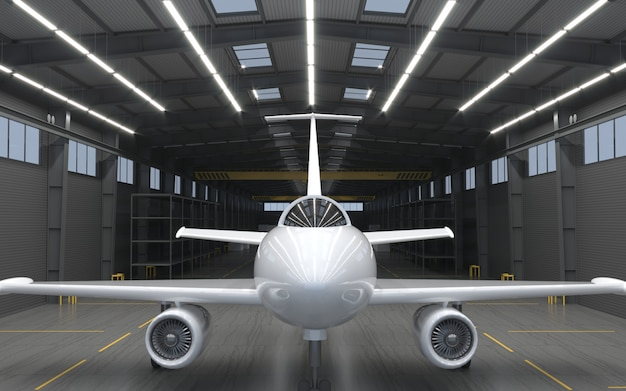 Hangar für moderne düsenflugzeuge.
