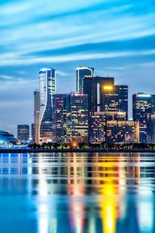Hangzhou bankenviertel bürogebäude architektur nachtansicht und skyline der stadt