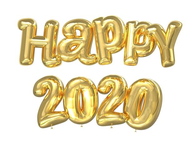 Happy 2020 goldenen luftballons