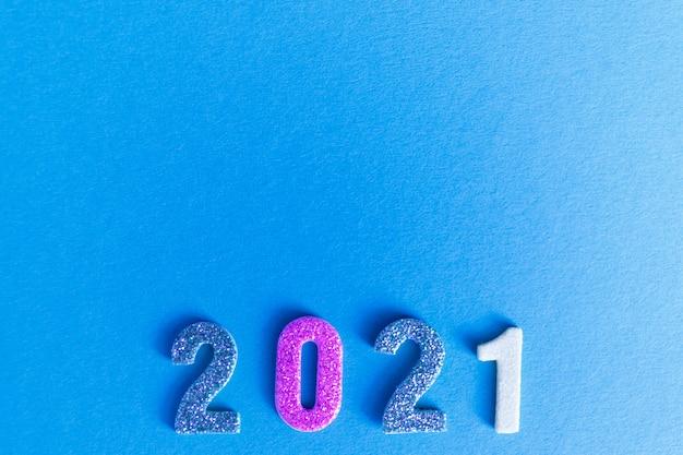 Happy 2021 neujahr flatlay, glitzernummern