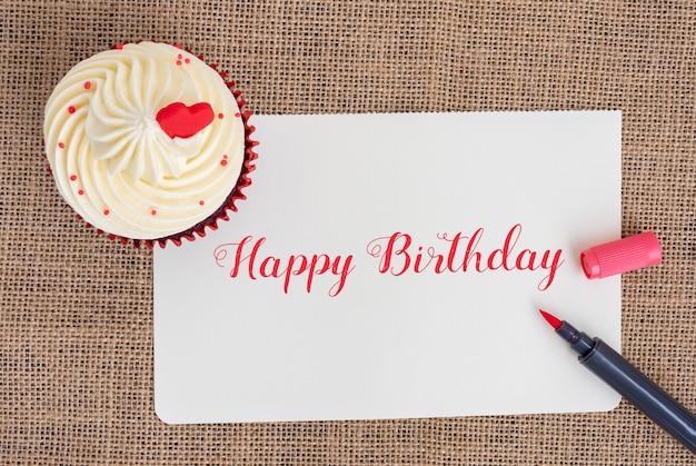 Happy birthday cupcake mit rotem stift
