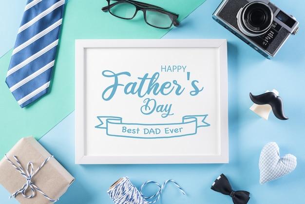 Happy fathers konzept auf hellem pastellpapier
