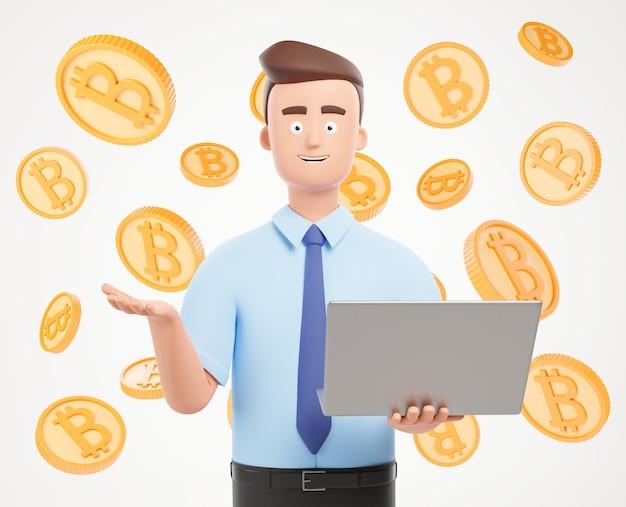 Happy geschäftsmann charakter mit laptop-präsentation auf weißem hintergrund mit bitcoins.3d render-illustration.