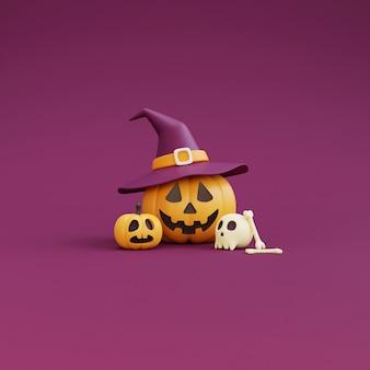 Happy halloween-konzept, kürbisse charakter mit hexenhut, schädel, knochen. auf lila hintergrund. 3d-rendering.