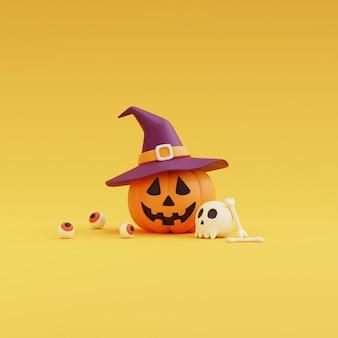 Happy halloween-konzept, kürbisse charakter mit hexenhut, schädel, knochen, augäpfel. auf gelbem hintergrund. 3d-rendering.