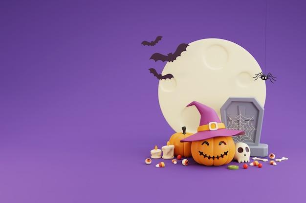 Happy halloween-konzept, kürbisse charakter mit hexenhut, schädel, knochen, kruzifix, fledermaus, sarg, süßigkeiten, fledermaus. unter dem mondschein. auf lila hintergrund. 3d-rendering.