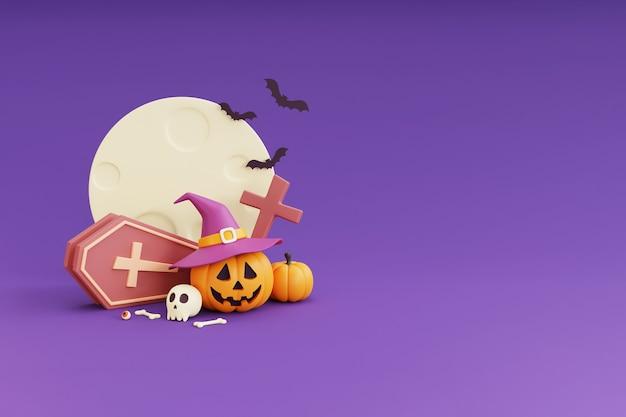 Happy halloween-konzept, kürbisse charakter mit hexenhut, schädel, knochen, kruzifix, fledermaus, sarg. unter dem mondschein. auf lila hintergrund. 3d-rendering.