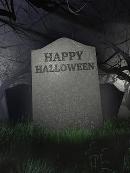Happy halloween-schild auf einem grabstein