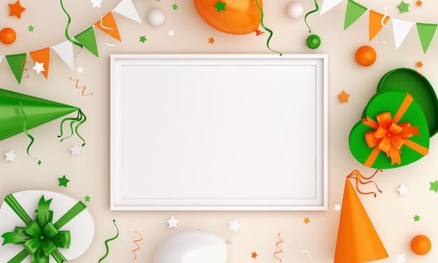 Happy independence day von indien oder irland dekoration hintergrundrahmen modell
