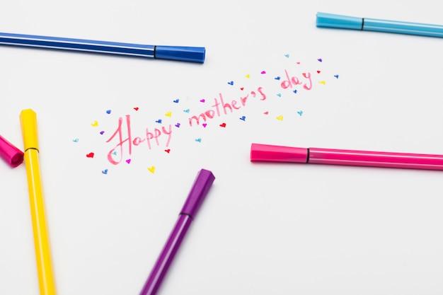 Happy mothers day inschrift mit filzstiften