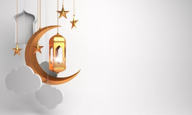 Happy muharram islamische neujahrsdekoration mit laternenhalbmondwolke