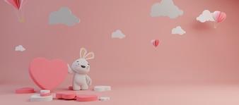 Happy Valentines Day und Jäten Design-Element. Rosa hintergrund. 3D-Rendering