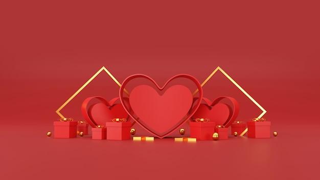 Happy valentinstag banner. herz, geschenk und box auf rotem hintergrund. platz für text. 3d-illustration