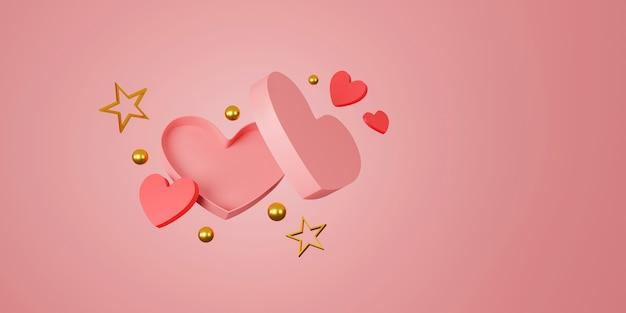 Happy valentinstag banner. herz, geschenk und schachtel auf rosa hintergrund. platz für text. 3d-illustration