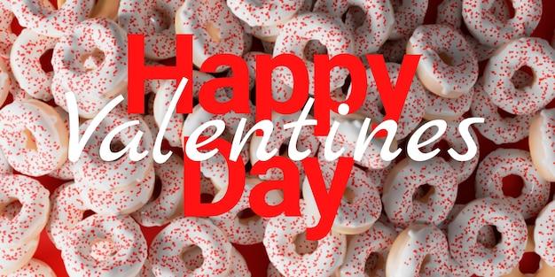 Happy valentinstag konzept, donuts mit herz banner