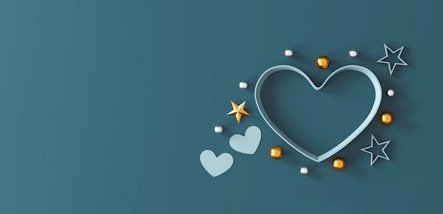 Happy valentinstag konzept. herzform geschenkbox auf grünem hintergrund.