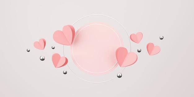 Happy valentinstag konzept. minimale szene mit geometrischen formen. zylinder podium anzeige
