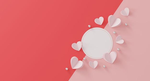 Happy valentinstag konzept. minimale szene mit geometrischen formen.