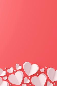 Happy valentinstag konzept. papierherz und silberne kugel auf rosa hintergrund.