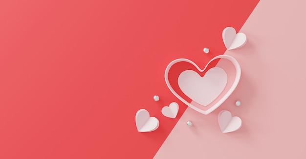 Happy valentinstag konzept. papierherz und silberne kugel auf rosa.