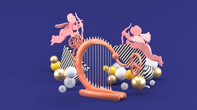 Harfenist und amor unter den bunten kugeln auf dem purpur. 3d-rendering.