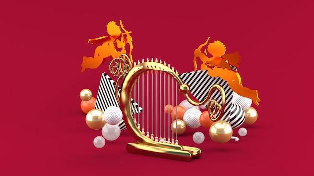 Harfenist und amor zwischen den bunten kugeln auf dem rot. 3d-rendering.