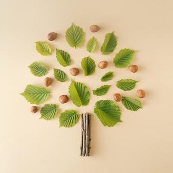 Haselnüsse und haselnussblätter nach der idee angeordnet, einem haselnussbaum auf cremefarbenem hintergrund gegenüberzustellen. das natürliche konzept der gesunden ernährung