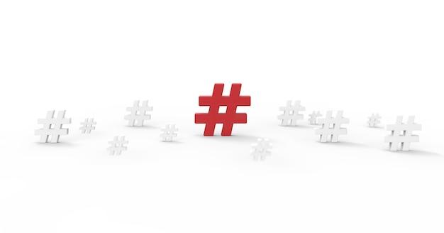 Hashtag-symbol isoliert auf weißem hintergrund.3d illustration.