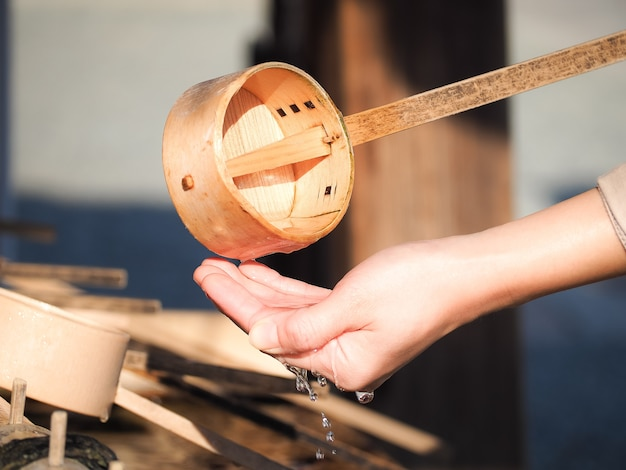 Hatsumoude ist japanische zeremonie. leute besuchen einen schrein für beten zu göttern für glück von f