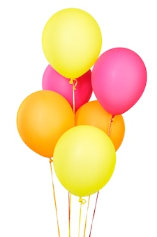 Haufen bunter luftballons auf weißem hintergrund